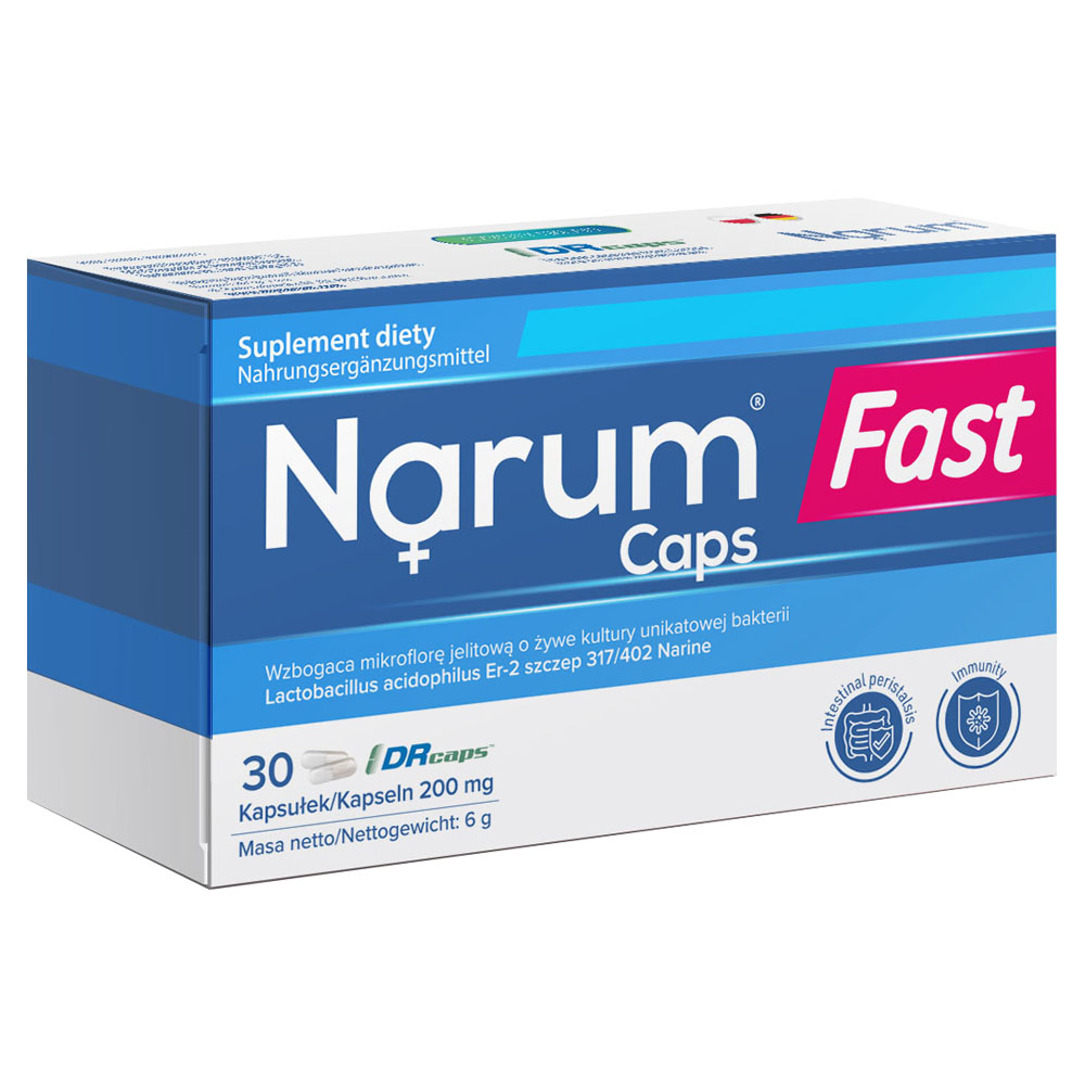 Narum Fast Caps 200 mg auf Basis von Narine, 30 Kapseln
