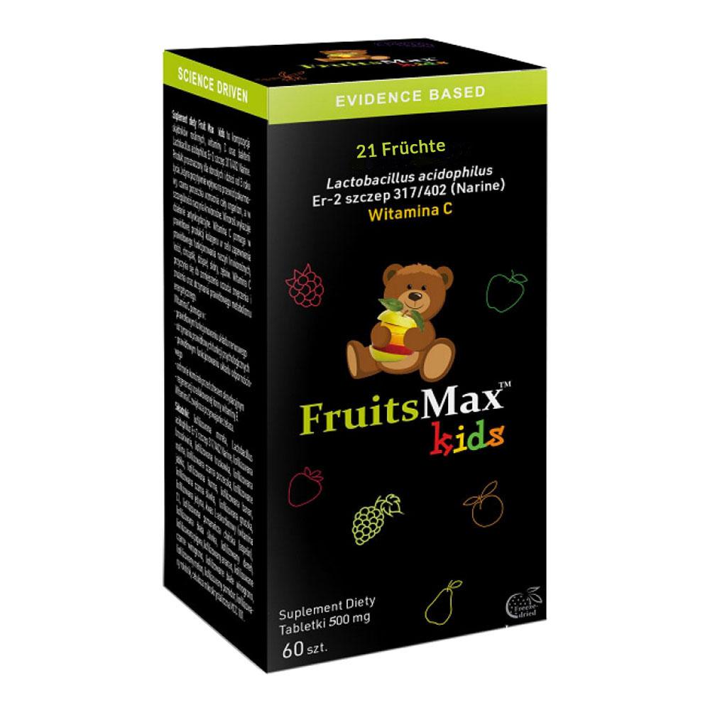 FruitsMax Kids Multivitamin 500 mg auf Basis von Narine, 60 Tabletten